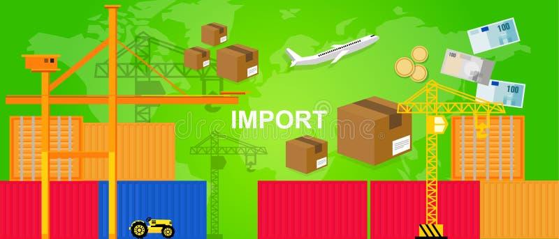 Importações que trocam recipientes logísticos plano do porto do transporte e comércio mundial da caixa do pacote do dinheiro do g ilustração royalty free