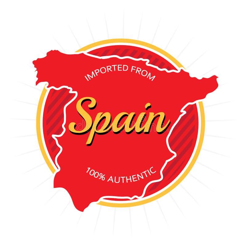Importado da etiqueta da Espanha ilustração do vetor