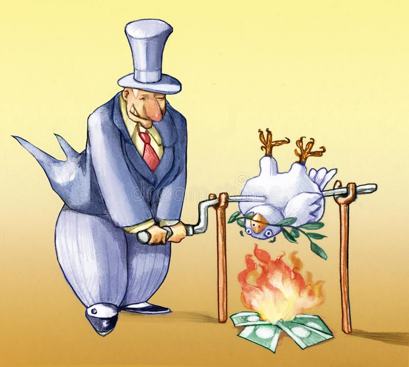 Importance of the peace for the neweconomy. Banker cooks dove to the spit peace vector illustration