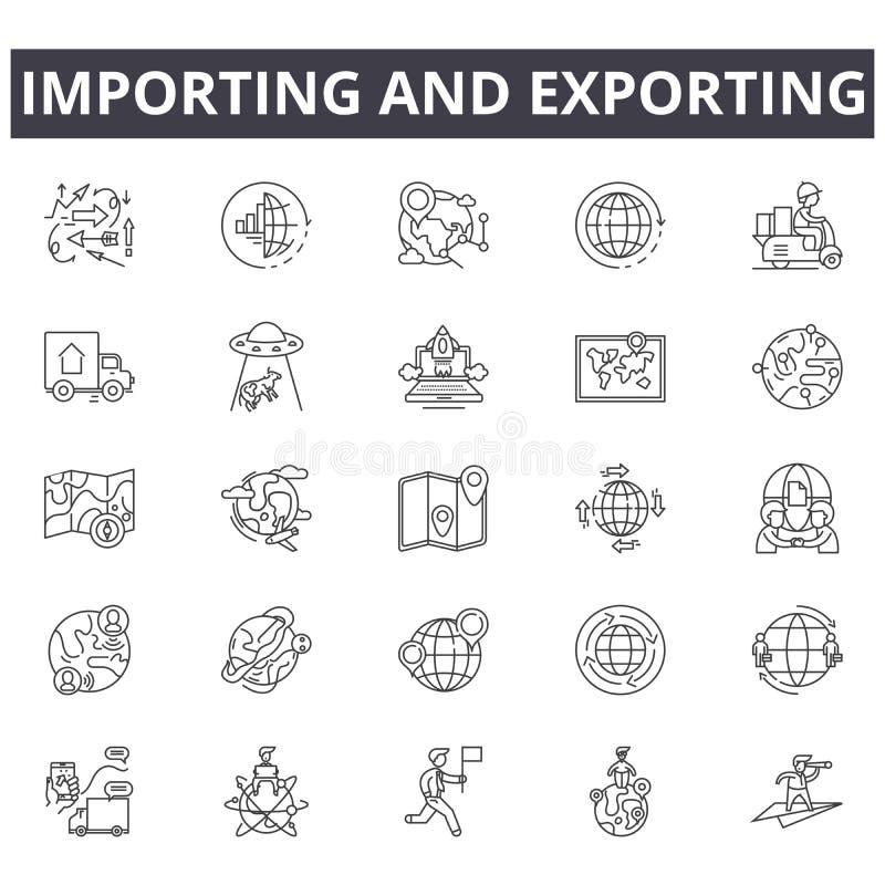 Importando e exportando a linha ícones do conceito, sinais, grupo do vetor, conceito linear, ilustração do esboço ilustração royalty free