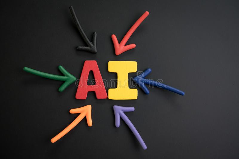 Important of AI Artificial Intelligent concept, colorful arrows. Pointing to the alphabet combine word AI at the bright center on dark and black chalkboard royalty free stock photo