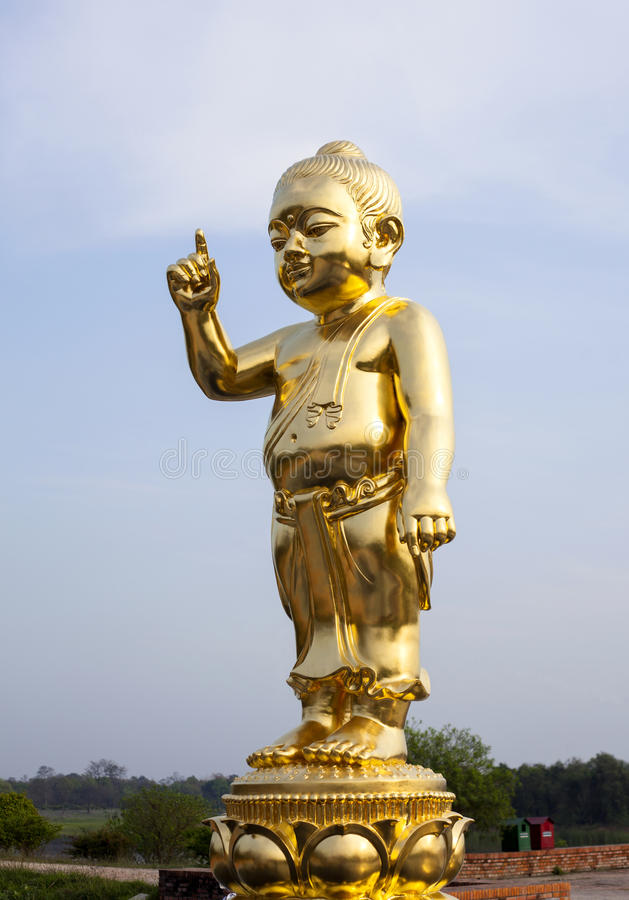 Download The Important Baby Buddha Gold Statue. Stock Photo - Image of point, glorify: 55125270