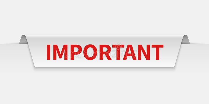 Important banner. Information tabbed label with caution notice. Importance and attention vector isolated tag. Important banner. Information tabbed label with royalty free illustration