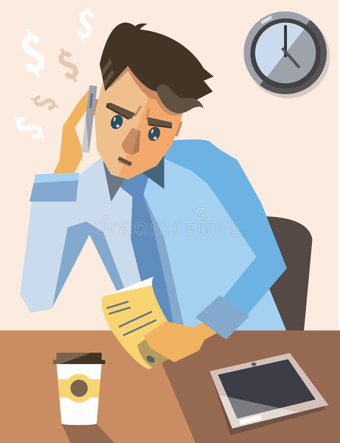 Important call about work. Businessman has important call about big money stock illustration