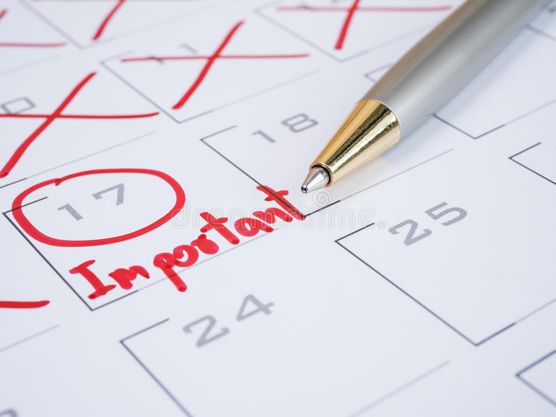 Important date on calendar desk 2 stock photography