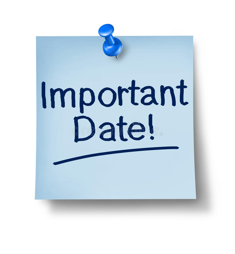Important Date Office Note. With a blue thumb tack on pastel paper representing the communication to remember and not forget an important business message for a stock illustration