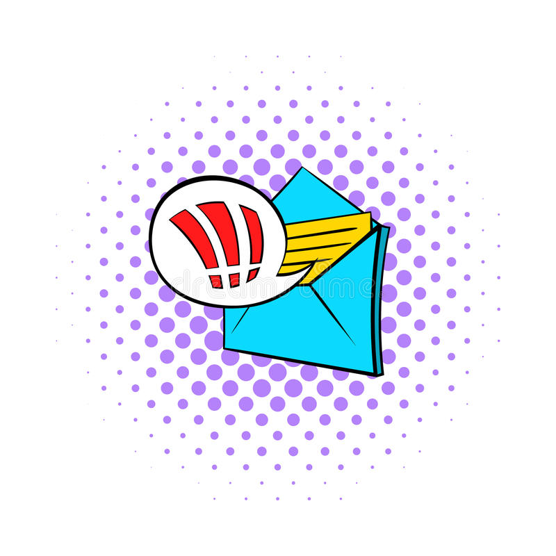 Important e-mail icon, pop-art style. Important e-mail icon in pop-art style on dotted background. Internet and message symbol vector illustration