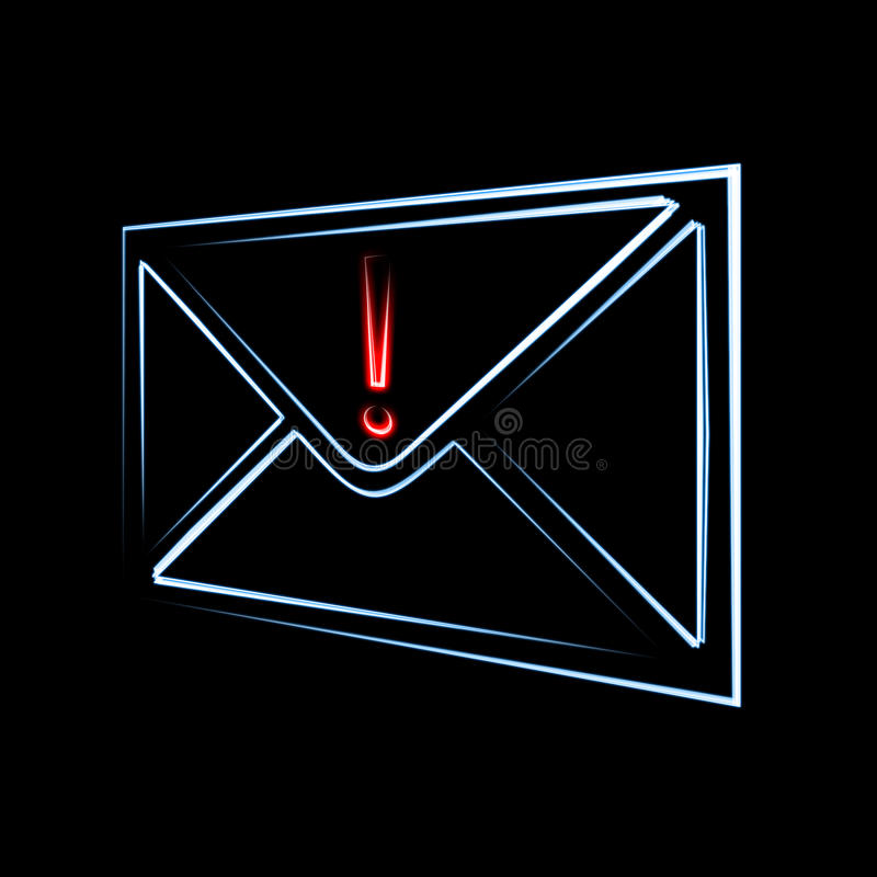 Important email message. Important or dangerous email message has arrived symbol of envelope and exclamation sign on black background stock illustration