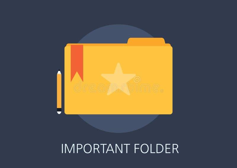 Important folder concept flat icon vector illustration