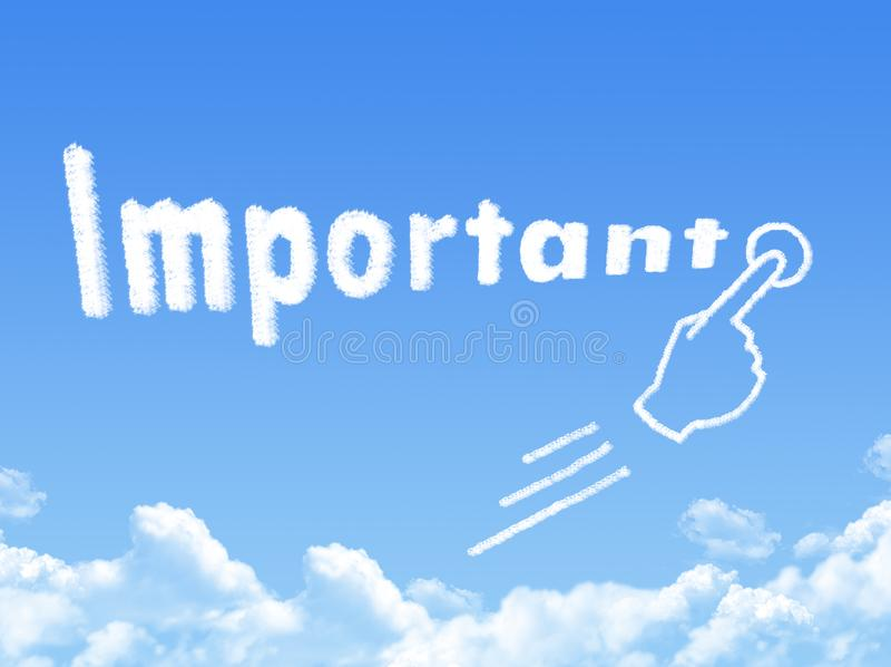 Important message cloud shape. On blue sky stock illustration