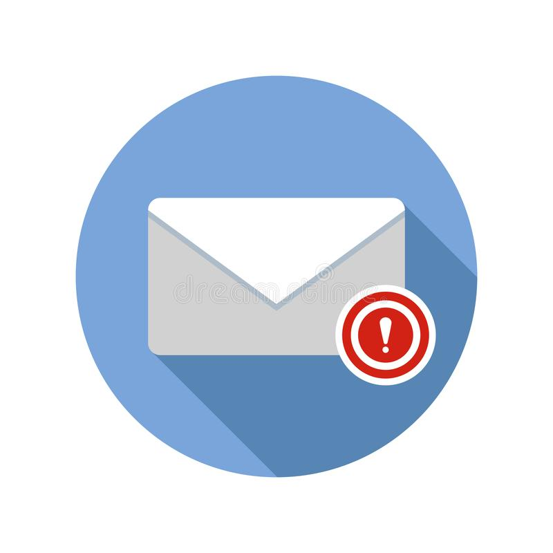 Important message icon. Email icon with long shadow. Vector Flat Illustration royalty free illustration