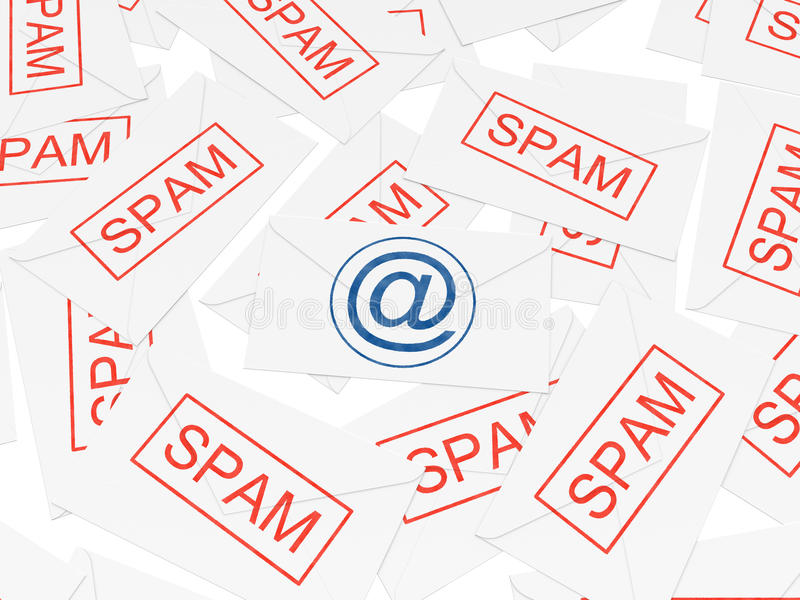 Important message among spam letters.  stock illustration