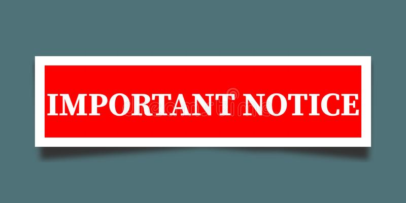 Important notice. Letter on red banner stock illustration