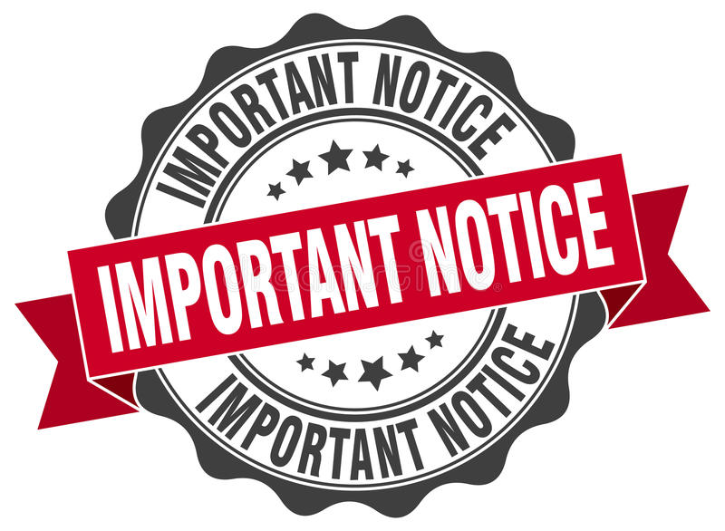 Important notice stamp. Sign. seal stock illustration