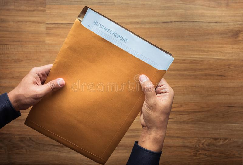 Important paper work in male hand.Business management.annual report.concept. Ideas royalty free stock photo