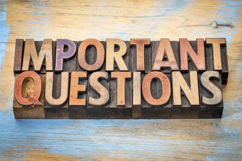 Important questions word abstract in wood type. Important questions - word abstract in vintage letterpress wood type against grunge painted wood royalty free stock photos