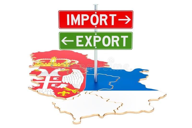 Importe e exportação no conceito da Sérvia, rendição 3D ilustração do vetor
