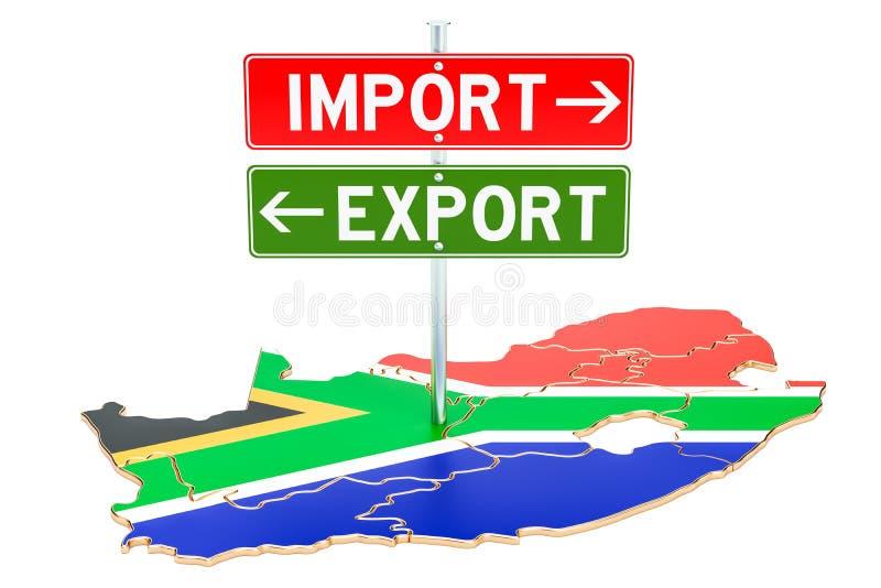 Importe e exportação no conceito de África do Sul, rendição 3D ilustração royalty free