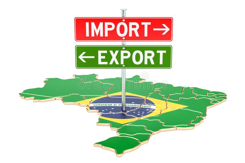 Importe e exportação no conceito de Brasil, rendição 3D ilustração stock