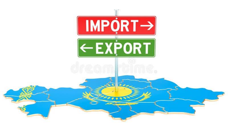 Importe e exportação no conceito de Cazaquistão, rendição 3D ilustração stock