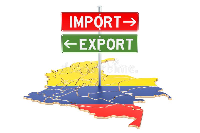 Importe e exportação no conceito de Colômbia, rendição 3D ilustração stock