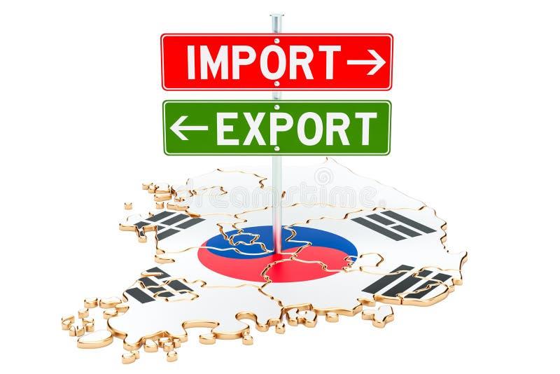 Importe e exportação no conceito de Coreia do Sul, rendição 3D ilustração royalty free