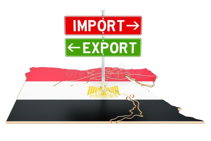 Importe e exportação no conceito de Egito, rendição 3D ilustração stock