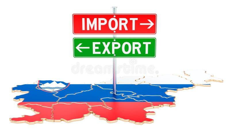 Importe e exportação no conceito de Eslovênia, rendição 3D ilustração stock
