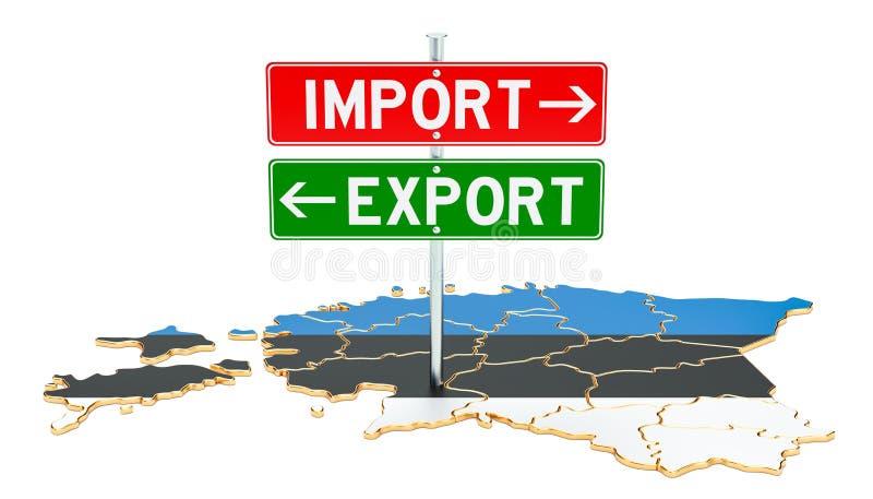 Importe e exportação no conceito de Estônia, rendição 3D ilustração royalty free