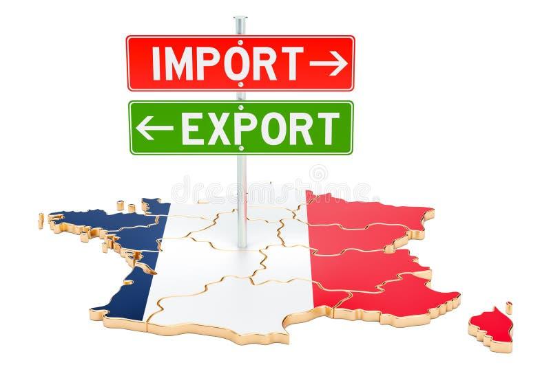 Importe e exportação no conceito de França, rendição 3D ilustração do vetor
