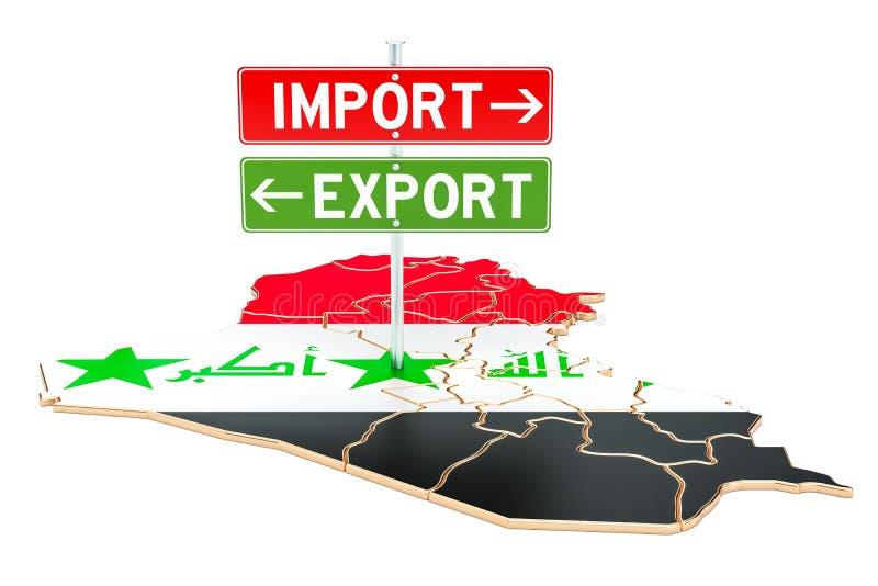Importe e exportação no conceito de Iraque, rendição 3D ilustração royalty free