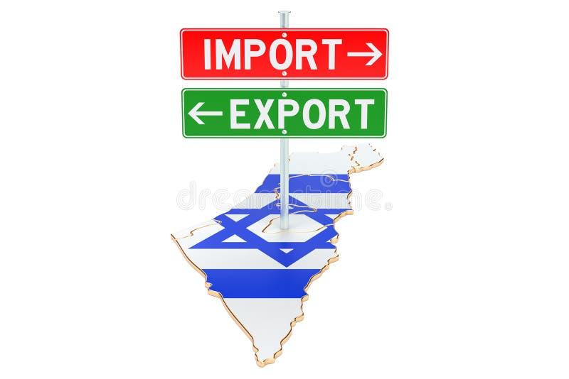 Importe e exportação no conceito de Israel, rendição 3D ilustração do vetor