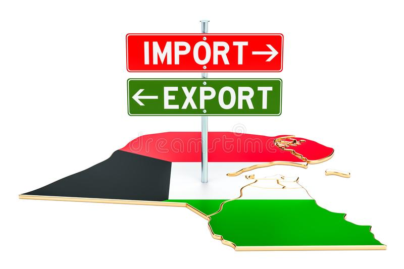 Importe e exportação no conceito de Kuwait, rendição 3D ilustração royalty free
