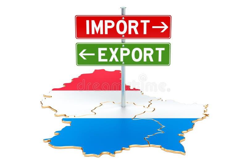 Importe e exportação no conceito de Luxemburgo, rendição 3D ilustração do vetor