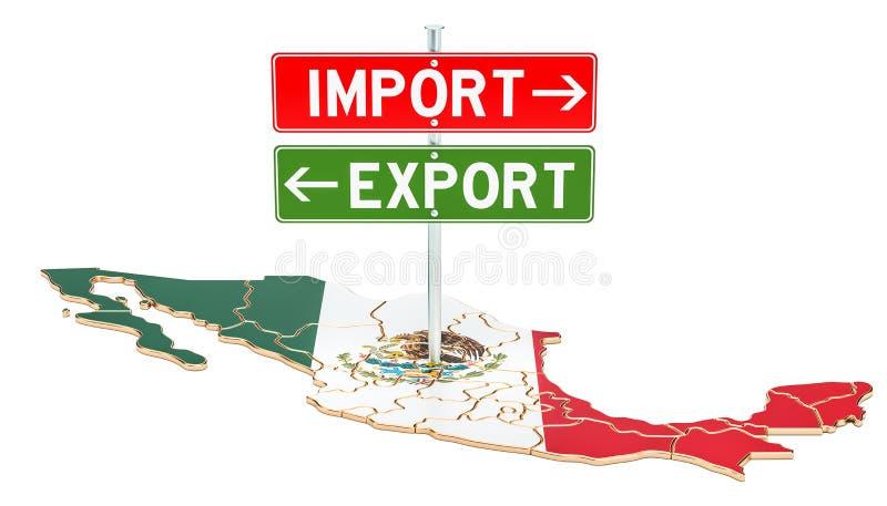 Importe e exportação no conceito de México, rendição 3D ilustração royalty free
