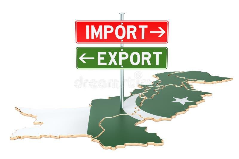 Importe e exportação no conceito de Paquistão, rendição 3D ilustração do vetor