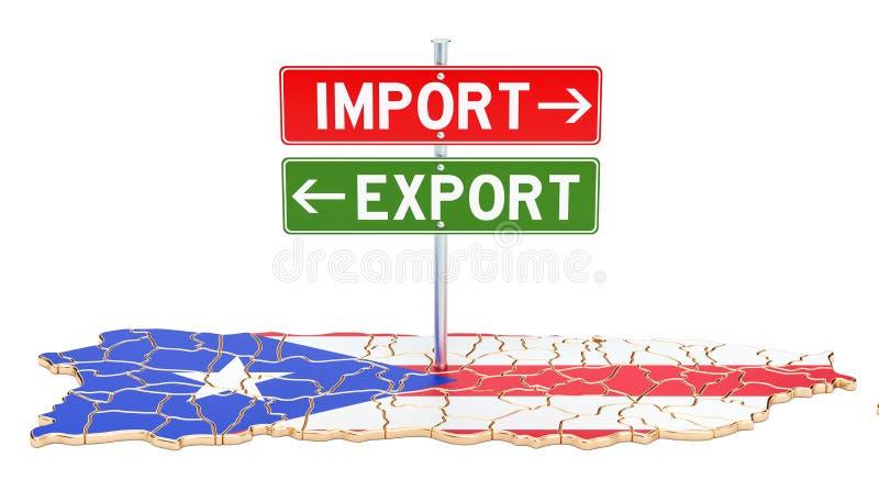 Importe e exportação no conceito de Porto Rico, rendição 3D ilustração do vetor