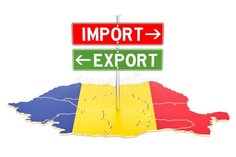 Importe e exportação no conceito de Romênia, rendição 3D ilustração stock