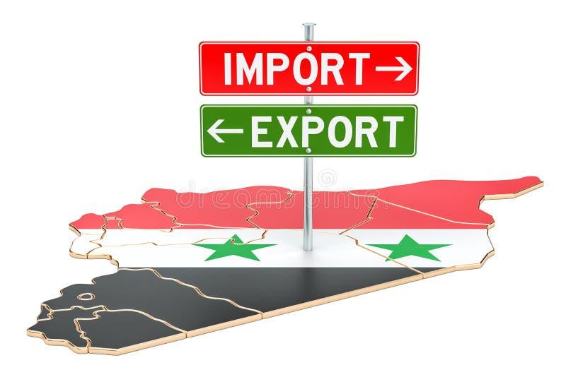 Importe e exportação no conceito de Síria, rendição 3D ilustração royalty free