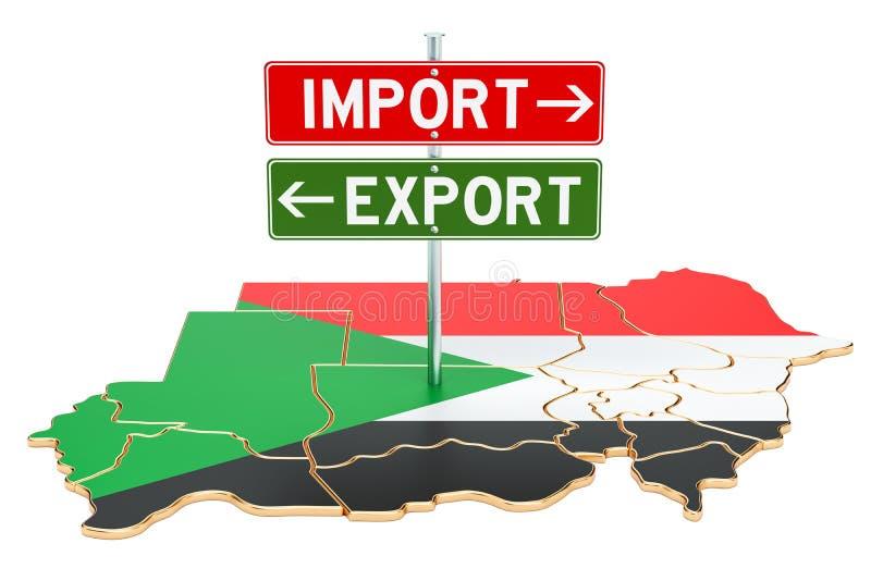 Importe e exportação no conceito de Sudão, rendição 3D ilustração stock