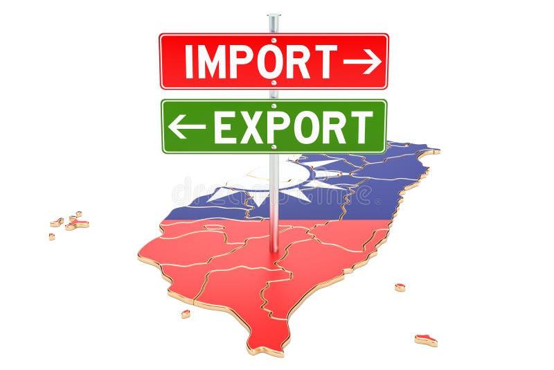 Importe e exportação no conceito de Taiwan, rendição 3D ilustração stock