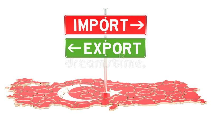 Importe e exportação no conceito de Turquia, rendição 3D ilustração royalty free