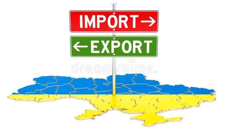 Importe e exportação no conceito de Ucrânia, rendição 3D ilustração royalty free