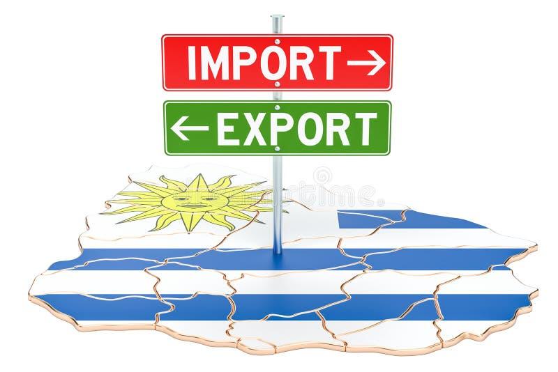 Importe e exportação no conceito de Uruguai, rendição 3D ilustração royalty free