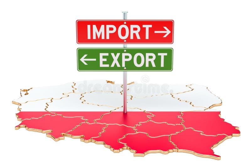 Importe e exportação no conceito do Polônia, rendição 3D ilustração stock