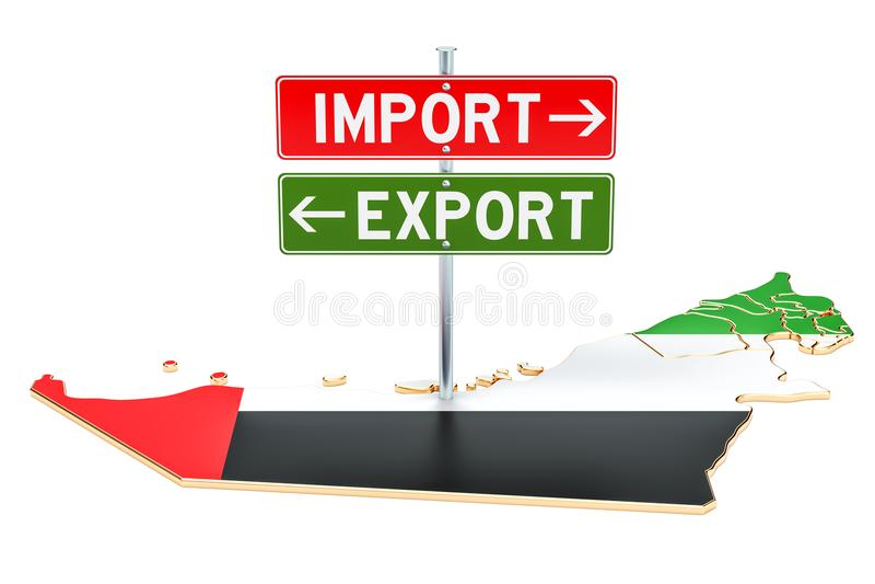 Importe e exportação no conceito dos UAE, rendição 3D ilustração royalty free