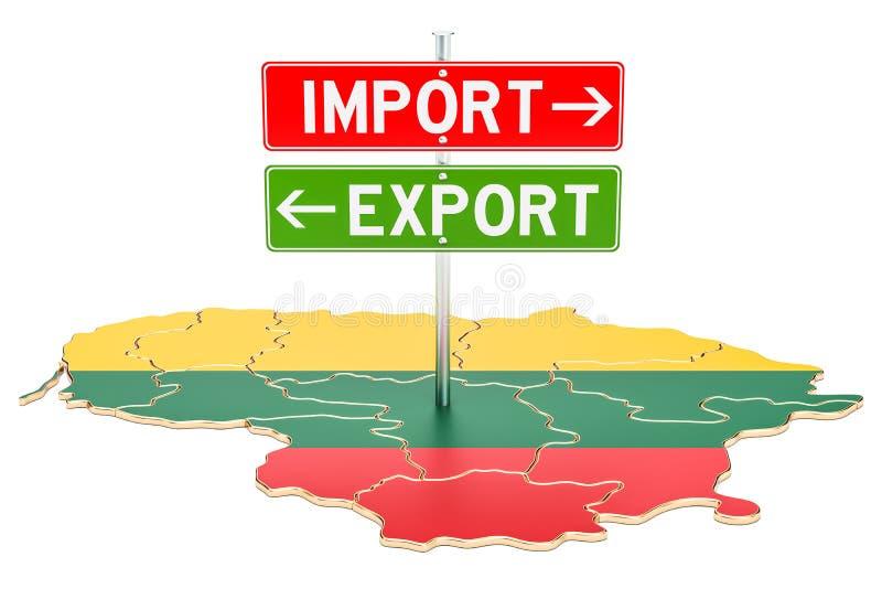 Importe e exportação no conceito lituano, rendição 3D ilustração do vetor