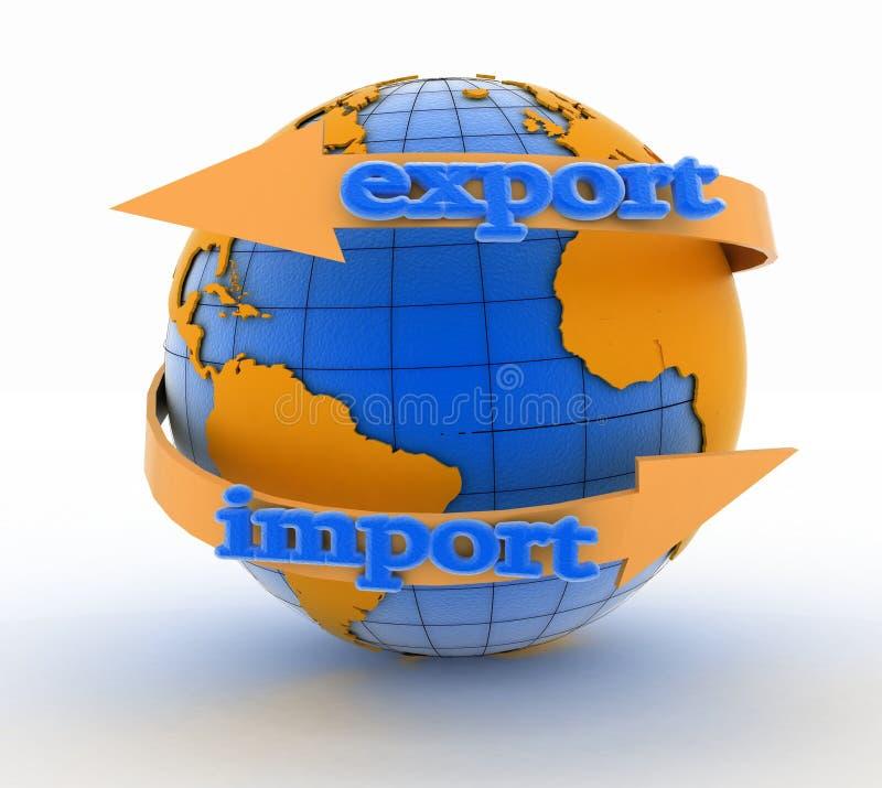 Importe e exporte a seta em torno da terra para o negócio ilustração royalty free