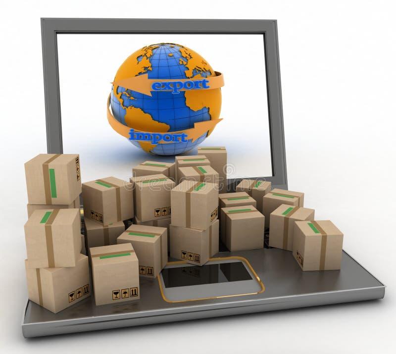 Importe y exporte la flecha alrededor de la tierra para el negocio ilustración del vector