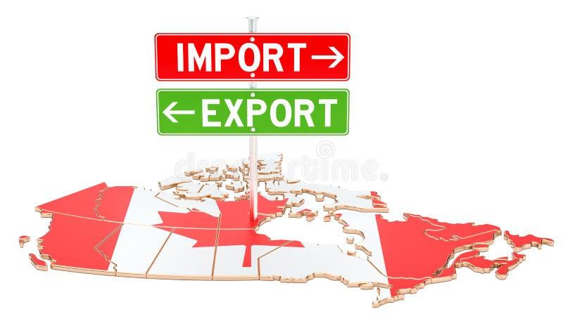 Importez et exportation dans le concept de Canada, le rendu 3D illustration stock
